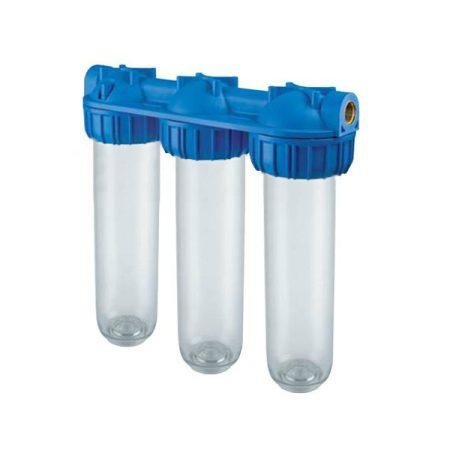"""Triplex 3 filteres vízszűrő 10"""" 3/4"""" csatlakozóval"""